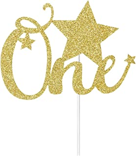 Gold Glitter One Cake Topper- Baby's First Birthday Cake Toppers - Baby Shower Party Decorations Supplies - The First Anniversary Party Cake Toppers