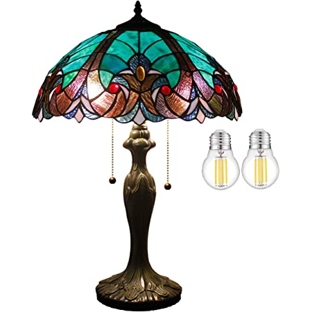 Amazon Com Tiffany Style Stained Glass Table Lamp W16h24 Inch 2led Bulb Included Green Liaison Shade S160g Werfactory Lamps Lover Living Room Bedroom Coffee Bar Reading Light Bedside Desk Antique Craft Gifts Home