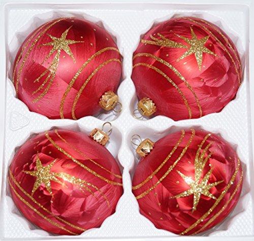 4 TLG. Glas-Weihnachtskugeln Set 12cm Ø in Ice Rot Gold Komet - Christbaumkugeln - Weihnachtsschmuck-Christbaumschmuck 12cm Durchmesser