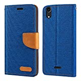 Wiko Rainbow Lite 4G Case, Oxford Leather Wallet Case with
