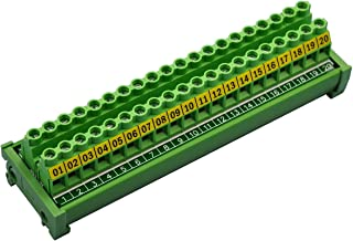 Electronics-Salon DIN Rail Mount 20 Position 30A / 300V Screw Terminal Block Distribution Module.