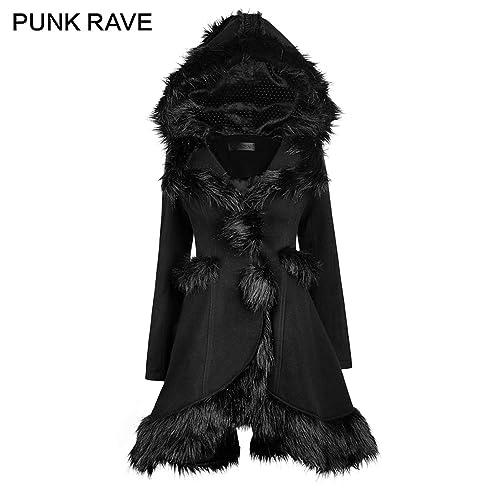 1b8c55c0fa Punk Rave Gothic Lolita Style Hooded Women Fur Coats Winter Black Warm Cute  Jackets Outerwear