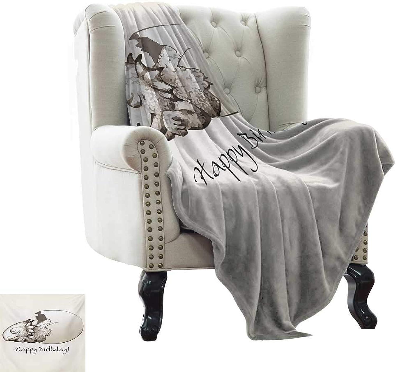 BelleAckerman Throw Blanket Dinosaur,Happy Birthday Theme Cute Newborn Dinosaur Sleeping Cracked Egg Fantasy Fun,Eggshell Tan Reversible Soft Fabric for Couch Sofa Easy Care 35 x60