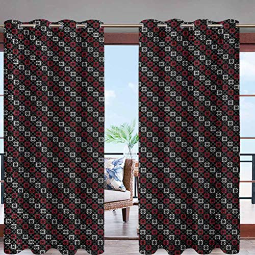 Darkening Window Panel UV Ray Protected Diagonal Pattern with Geometric Elements W84 x L96 Grommet for Sliding Door Foyer Arbor Lanai Patio