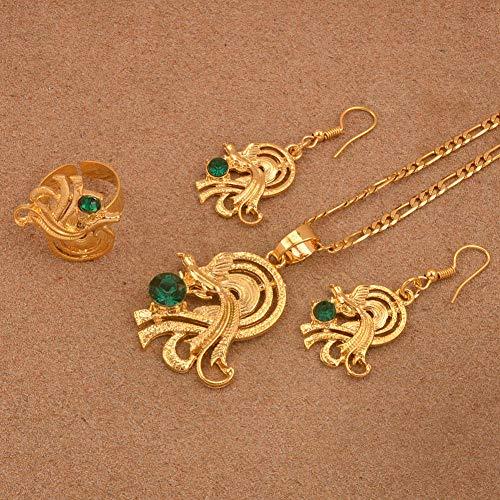 NCDFH t Collares Pendientes de Anillo con Piedra Verde Color Dorado Ave del paraíso Papua Guinea Artículos de joyería # J0183 Cadena Ajustable de 45 cm por 3 mm
