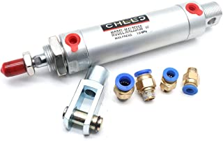 Sydien Small Air Pneumatic Cylinder 25mm Bore 50mm Stroke with Y Connector and 4Pcs Pneumatic Quick Fitting (MAL25X50)