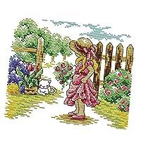 クロスステッチキット 庭の女の子と猫 刺繍セット 正確なプリント DIY 初心者 全2サイズ - 26x21cm 14CT