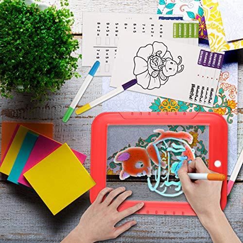 3D Magic Drawing Pad Azul & Rojo Portátil Pizarras Mágicas, Escritura Mágica Bloc De Dibujo Juguetes con Pincel de Pizarra para Niños Educación, Art Draw, Sketch, Doodle, Learning Tablet