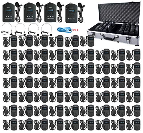 EXMAX EXD-101 2.4G Wireless Whisper Audio Transmission Tour Guide System Church Translation Hajj Travel Business Reception Court Translator Device- 4 Transmitters 60 Receivers & 64-slot Charging Case
