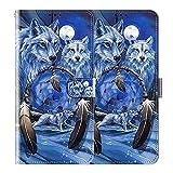 vingarshern Klapphüllen für Wiko View 4 Lite Schutzhülle Mit Magnetverschluss Flip Etui Lederhülle Handytasche Wiko View4 Lite Hülle Klappbares Leder Brieftasche,Wolf Muster-2