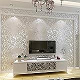 Gaddrt 10M Luxus 3D viktorianischen Damast prägeartigen Tapeten Rolls Kunst Wandtattoo Aufkleber DIY Küche Badezimmer Wohnzimmer Schlafzimmer moderne Hintergrund TV Dekor (Silber)