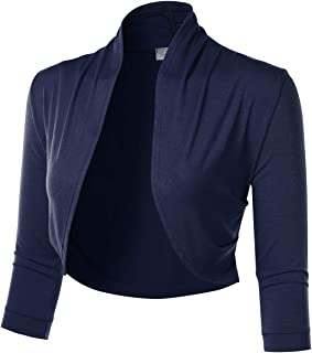 FLORIA Women's 3/4 Sleeve Open Front Cropped Bolero Shrug Cardigan with Side Pleats (S-3XL)