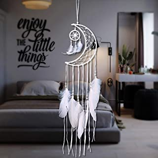 JOXJOZ White Feather Dream Catchers for Kids, Handmade Moon Dream Catchers for Bedroom Wall Hanging Decorations Dorm Room Ornament Craft Gift (White)