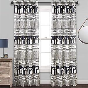 "Lush Decor Llama Stripe Room Darkening Window Curtain Panel Pair, 84"" x 52"", Navy"