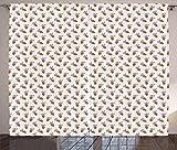 ABAKUHAUS Saftig Rustikaler Gardine, Exotische Kakteen, Schlafzimmer Kräuselband Vorhang mit Schlaufen und Haken, 280 x 245 cm, Hellbraun Grün Rosa