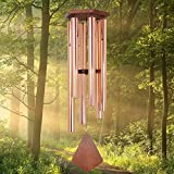 ASTARIN Wind Chimes Outdoor Large Deep Tone, 44 Inch Sympathy Wind Chime Outdoor, Memorial Wind-Chime with 6 Tuned Tubes, Elegant Chime for Garden, Patio, Balcony and Home Decor, Rose Gold