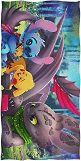 MDFK Lilo Stitch Pikachu Toothless Bath Towel Beach Towel Oversized 51in x 32in Use as Yoga Travel Camping Gym Pool Towels on Beach Cart Beach Chairs One Size