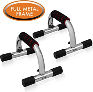 Push-Up Bars by Day 1 Fitness, Set of 2, for Men and Women, Extra Thick Foam Padded Grips - Ergonomic Push-Up Handles for Floor to Strengthen Arms, Core, Back - Home Gym Equipment