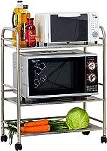 Chen Estantería de cocina de acero inoxidable Estantería de horno de microondas Estantería de admisión Rack de horno 3 capas