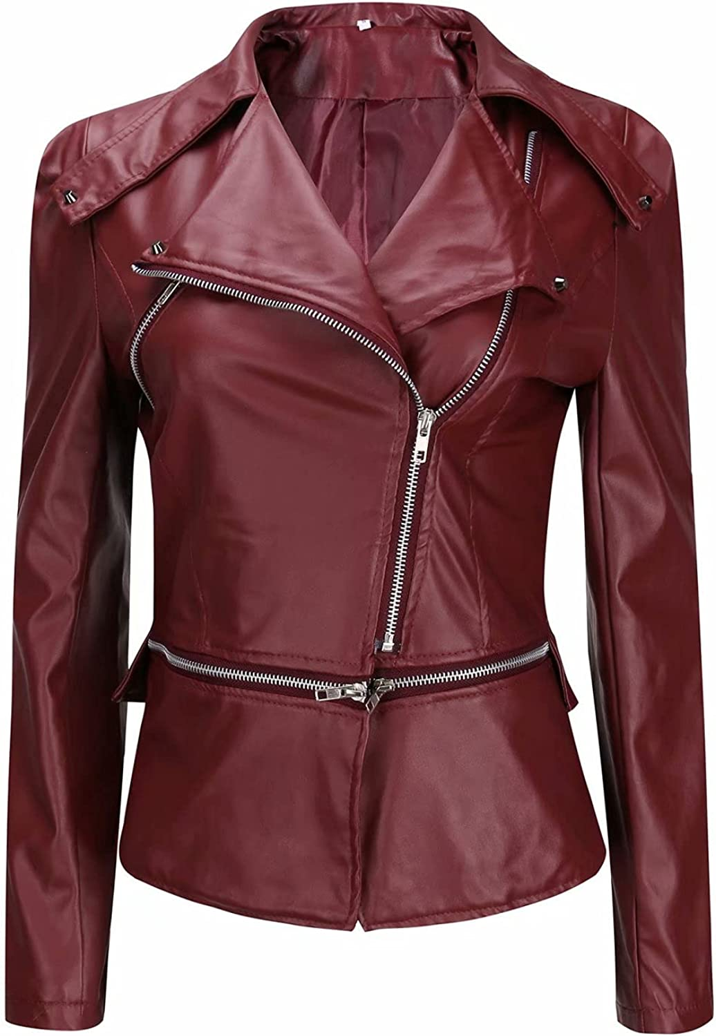 Women's jacket - elegant slim fit synthetic leather outdoor windproof stand-up collar leather jacket,transition coat