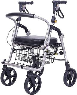 Rollator Walker With Seat, 4 Wheels Medical Walking Aids Foldable, Heavy Duty Walker Lightweight Aluminum Alloy Frame, Use...