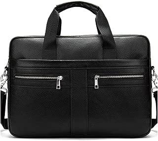 Genuine Leather Messenger Bag Shoulder Bag Tote, First Layer Leather Men's Business Briefcase Adjustable Strap