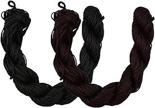 HOMYL 60 Meters 1 mm Nylon Braiding String Cords Threads Trim Cord Braided String Bead DIY Thread String Kumihimo Crafts Brown & Black