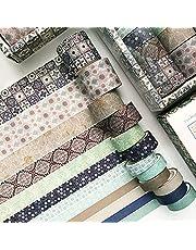 Hvxmot Washi Tape, 12 Rollen Decoratieve Washi Tape-sets, Washi Tapes 3m Elke Rol, met 1 Doos, voor Dagboek, Doe-het-zelf, Decoratief, Inpakken, Kalenders (Breedte 10mm, 15mm, 20mm, 30mm, Groen)