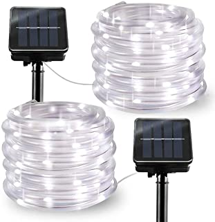 Solar String Lights Outdoor Rope Lights, 2 Pack 8 Modes 100 LED Solar Powered Outdoor Waterproof Tube Light Copper Wire Fairy Lights for Garden Fence Yard Summer Party Wedding Decor (Cool White)