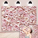 DANIU Floral Flower Backdrop for Photography Blush Rose Blooms Flower Wall Photo Background Wedding Bridal Showers Baby Shower Valentine's Day Birthday Party Decoration Banner Booth Prop 7x5FT