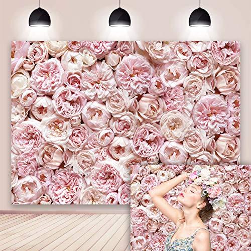 Danio - Fondale con fiori per fotografia, rosa e fiori da parete, sfondo per matrimonio, matrimonio, festa di compleanno, decorazione per feste di compleanno, 15 x 15 m
