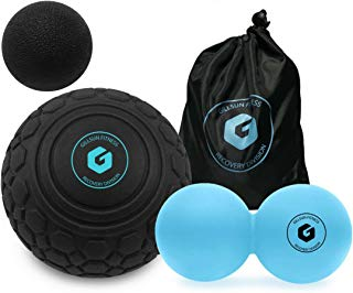 "Massage Ball Set - Includes 5"" Deep Tissue Mobility Ball and Peanut Double Lacrosse Ball - for Trigger Point Therapy, Myofascial Release, Muscle Knots, Yoga, Crossfit, Self Massage, and Mobility Work"