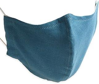 Quintetto(クインテット)蒸れない 麻マスク 抗菌 防臭加工 日本製 麻 リネン 布マスク 洗える 洗濯 ファッションマスク オシャレ 大人用 小さめ 大きめ 花粉症 11-msk-601 (ミネラルブルー, 通常サイズ)