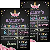 Unicorn Theme First Day of School Chalkboard, Durable First and Last Day of School Photo Sharing Chalkboard Sign for Kid Back to School Chalkboard Sign to Commemorate The First Day of School (Black)