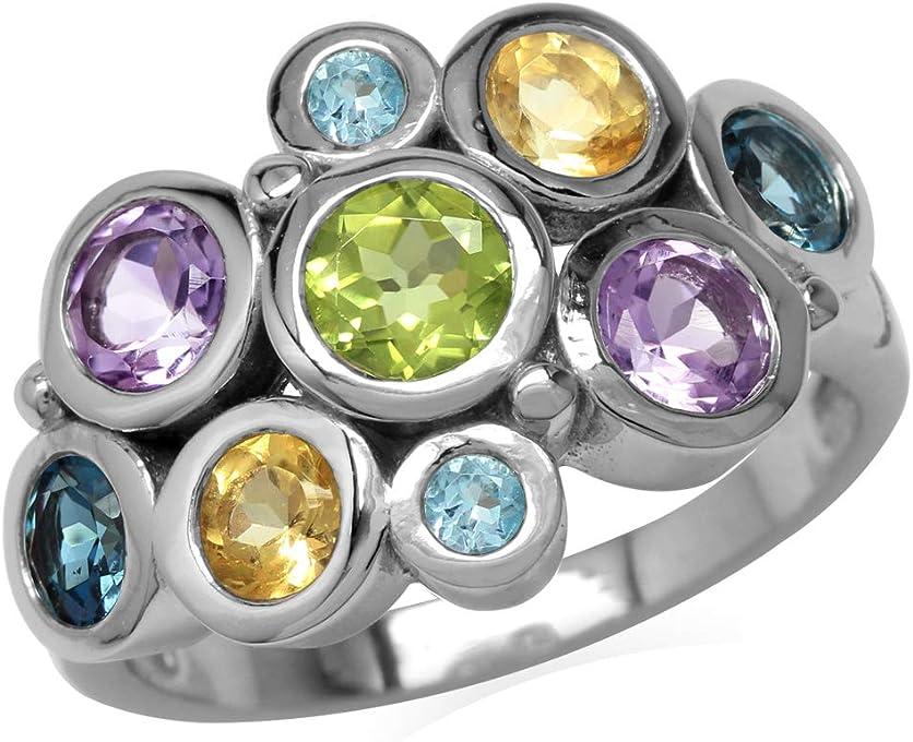 Peridot, Amethyst, Citrine, London&Swiss Blue Topaz 925 Sterling Silver Bezel Cluster Cocktail Ring