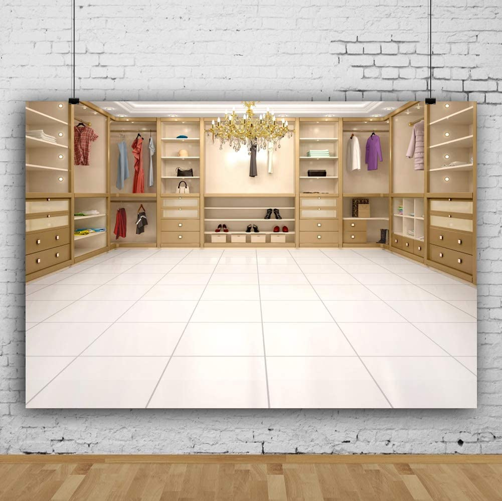 Leowefowa Deluxe Villa Dressing Room Interior Backdrop 12x8ft Vinyl Bright Crystal Chandelier Lockers Clothes Delicate Cloakroom Photography Background Lady Woman Portrait Shoot Prop