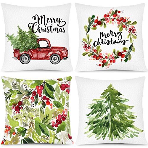 Whaline Juego de 4 fundas de almohada de Navidad con diseño de árbol de Navidad, para casa, oficina, sofá, cama, fiesta de Navidad