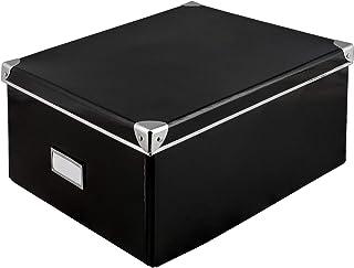 Idena Boîte de Rangement en Carton Rigide avec Couvercle renforcé en métal, avec Plaque d'étiquetage d'environ 36x 28x 1...