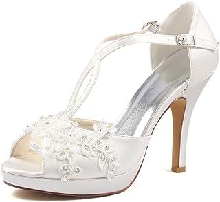 2507f846 Zapatos De Mujer Satén Encaje Primavera Verano 10CM Tacones Altos 1.5  Plataforma Novia Dama De Honor