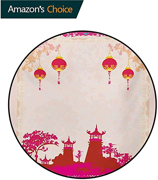 RUGSMAT Lantern Small Round Rug Carpet Asian Landscape With Various Eastern Figures From Orient Japanese Towers Door Mat Indoors Bathroom Mats Non Slip Diameter 35 Inch Hot Pink Multicolor