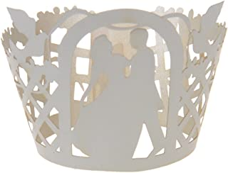 Flameer 50Pcs Bride Groom Cut Cake Cup Cupcake Wrappers Cases Cake Holder