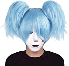 Anogol Hair Cap+ Anime Short Cosplay Wig Blue with Double Ponytail Wig for Costume Party Halloween DM-405