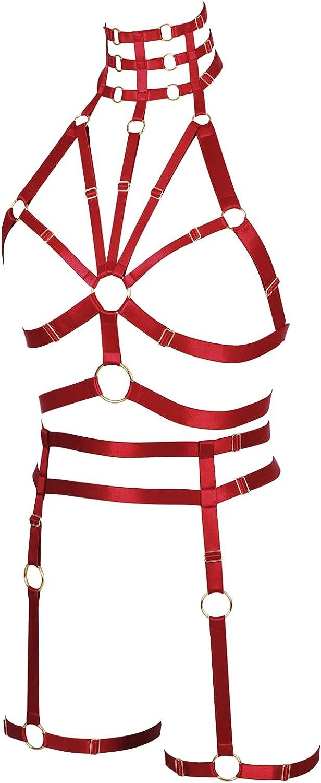 Lingerie cage Bra Full body harness for women Plus size Halloween Gothic Chest strap Festival Rave Punk Garter belt set