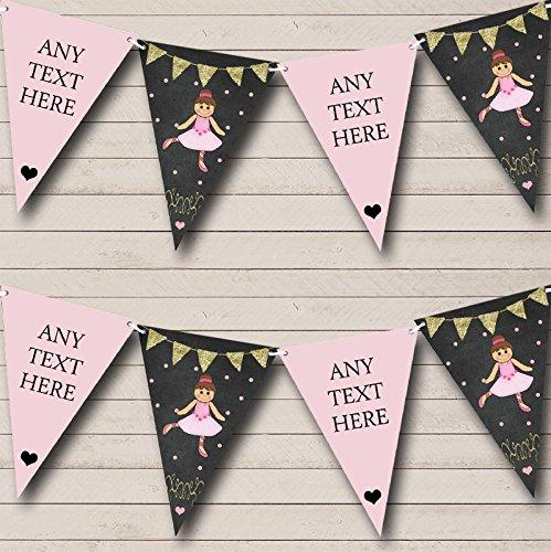 Party Banner Bunting Krijt Goud Meisjes Ballerina Ballet Gepersonaliseerde Kinderen Large