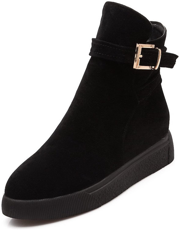 AmoonyFashion Women's Low-top Solid Zipper Round Closed Toe Kitten-Heels Boots
