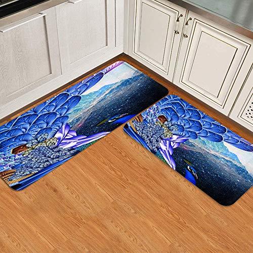 Anti-Fatigue Kitchen Floor Mat Set 2pcs,Fantasy Blue Peacock Peafowl Feather Animal Winter Mountain Magic Starlight S,Non-Slip Cushioned Door Bedroom Bath Carpet Rug Pad,47.2 x 17.7in + 29.5 x 17.7in