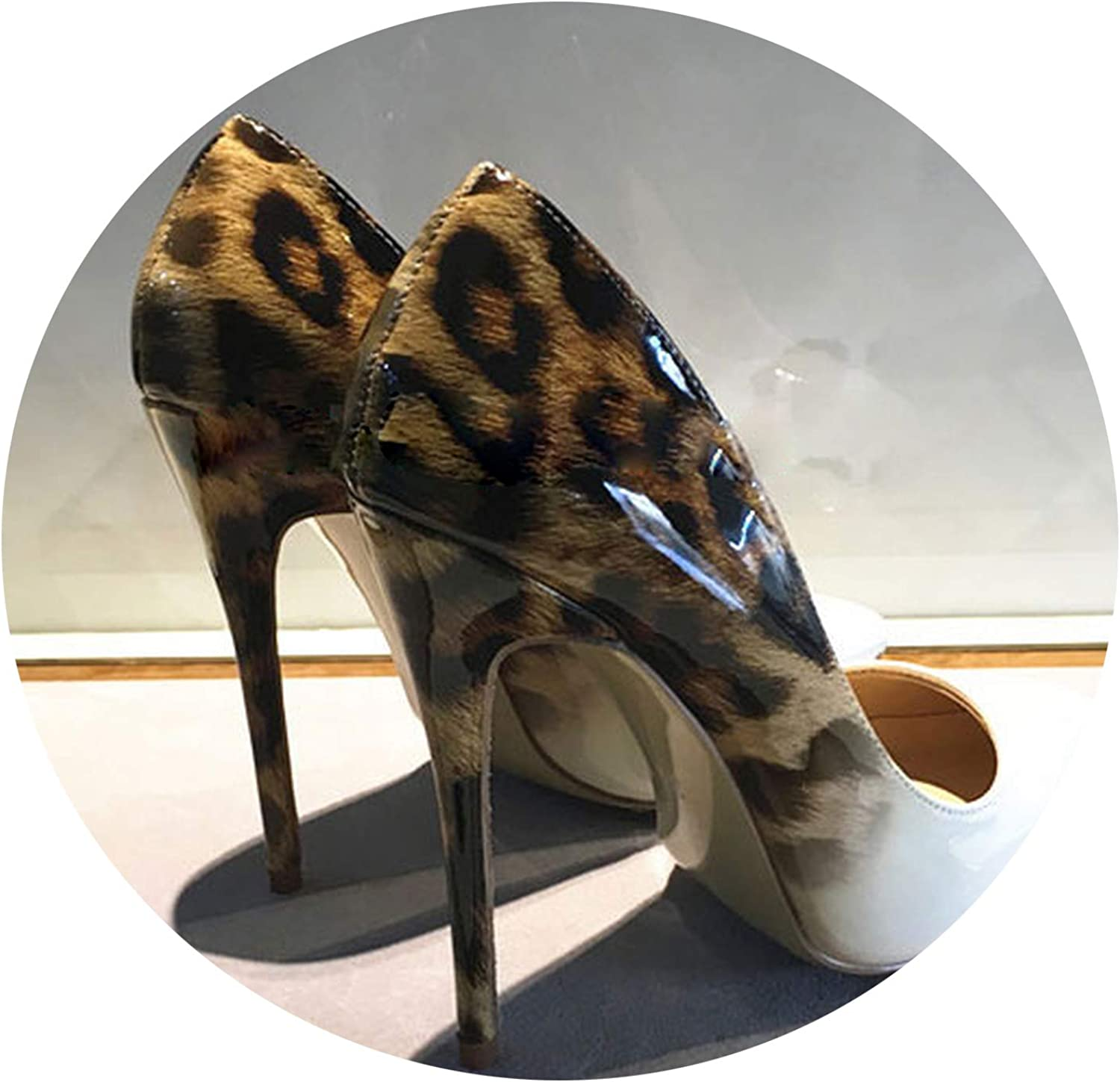 Super lucky shop-shoes Women Leopard Patent Leather Pumps Pointed Stiletto Ultra High Heel