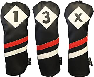 Majek Retro Golf Headcovers Black Red and White Vintage Leather Style 1 3 X Driver Fairway Woods Head Cover Classic Look