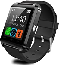 Amoji Multi-Functional Smartwatch U8 Bluetooth Smart Watch with Wireless Connection Touch Screen for iOS Android Smartphone (Black)