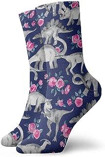 Dydan Tne, Calcetines de Dinosaurios y Rosas Calcetines Divertidos Calcetines Locos Calcetines Casuales para niñas Niños